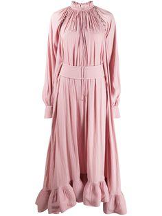 LANVIN вечернее платье с оборками и длинными рукавами
