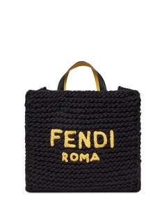 Fendi вязаная сумка-тоут с логотипом