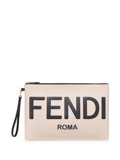 Fendi клатч с тисненым логотипом
