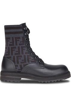 Fendi ботинки Rockoko в стиле милитари с узором FF