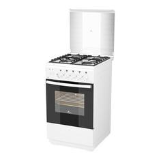 Газовая плита FLAMA FG 24210 W, газовая духовка, стеклянная крышка, белый
