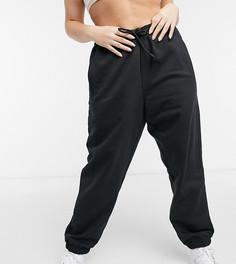 Черные oversize-джоггеры с манжетами adidas Originals Cosy Comfort Plus-Черный