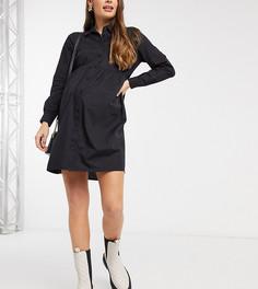 Черное свободное хлопковое платье-рубашка мини ASOS DESIGN Maternity-Черный