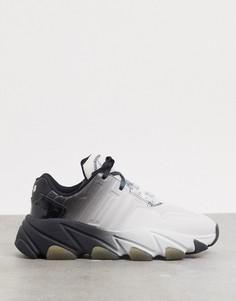 Черно-белые кроссовки на массивной подошвес эффектом омбре ASH-Мульти