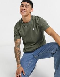 Футболка цвета хаки Nike Club-Зеленый