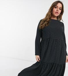 Монохромное ярусное платье миди свободного кроя с длинными рукавами и узором в горошек ASOS DESIGN Curve-Многоцветный