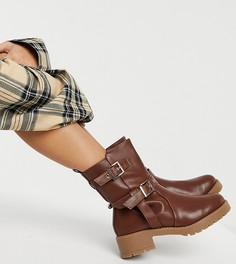Кожаные ботинки светло-коричневого цвета без застежки на массивной подошве для широкой стопы ASOS DESIGN Wide Fit Asha-Светло-коричневый