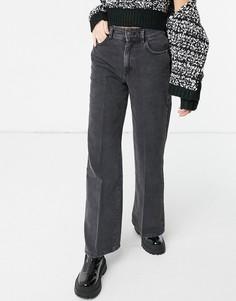 Черные выбеленные джинсы с широкими штанинами Bershka-Черный