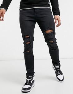 Черные супероблегающие джинсы с рваной отделкой Bershka-Черный