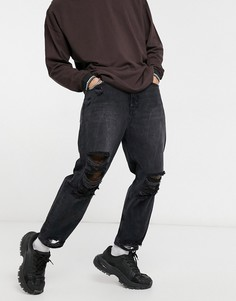 Свободные рваные джинсы черного цвета Bershka-Черный