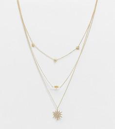 Ярусное ожерелье с покрытием из 14-каратного золота с блестящими подвесками в виде звезд ASOS DESIGN-Золотистый