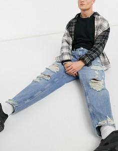 Голубые рваные джинсы свободного фасона Bershka-Голубой