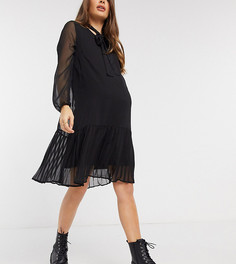 Черное плиссированное свободное платье Mamalicious Maternity-Черный Mama.Licious