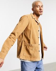 Вельветовая рубашка навыпуск табачного цвета ASOS DESIGN-Коричневый