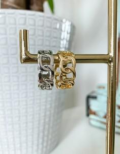 Набор из 2 колец в виде цепочки золотистого и серебристого цвета DesignB-Многоцветный