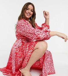 Атласное розовое платье миди с леопардовым принтом, на запахе и с поясом Never Fully Dressed Plus-Многоцветный