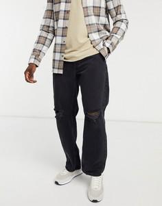 Черные джинсы в стиле 90-х с рваной отделкой Bershka-Голубой