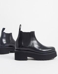 Черные кожаные ботинки челси на массивной подошве Grenson-Черный
