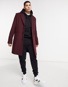 Пальто с добавлением шерсти ASOS DESIGN-Красный