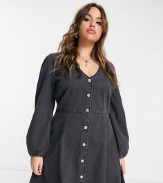 Чайное платье из мягкого денима с длинными пышными рукавами ASOS DESIGN Curve-Черный