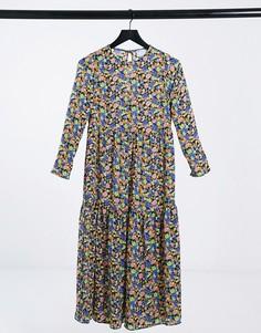 Ярусное платье миди свободного кроя с длинными рукавами и цветочным принтом ASOS DESIGN-Многоцветный