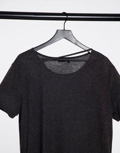 Свободная удлиненная футболка с асимметричным подолом и вырезом у шеи ASOS DESIGN-Черный