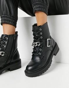 Черные байкерские ботинки на шнуровке с цепью New Look-Черный