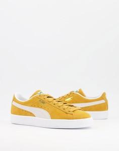 Классические замшевые кроссовки золотистого цвета PUMA-Золотистый
