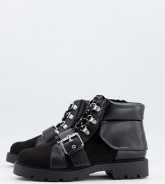 Черные походные ботинки на шнуровке ASOS DESIGN Wide Fit Angelo-Черный
