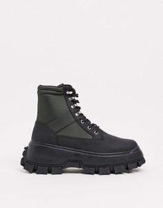 Ботинки из черной искусственной кожи со вставками цвета хаки на шнуровке с массивной подошвой с протектором ASOS DESIGN-Зеленый