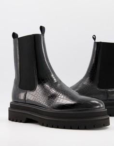 Черные ботинки-челси из искусственной кожи с крокодиловым принтом ASOS DESIGN-Черный