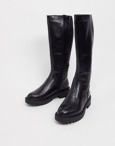 Черные байкерские ботинки с голенищами до колен на толстой подошве New Look-Черный