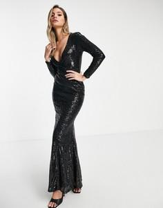 Черное платье-годе макси с запахом и пайетками Club L-Черный