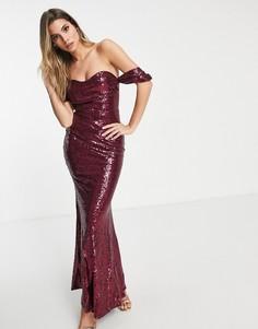 Платье-бардо макси с юбкой-годе и пайетками Club L-Красный