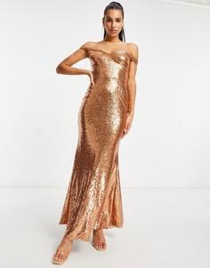Платье макси цвета розового золота с открытыми плечами, пайетками и юбкой-годе Club L-Золотистый