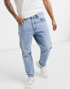 Голубые выбеленные джинсы прямого кроя в винтажном стиле Bershka-Голубой