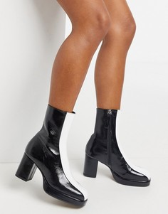 Черно-белые кожаные ботинки на платформе ASOS DESIGN Ricardo-Многоцветный