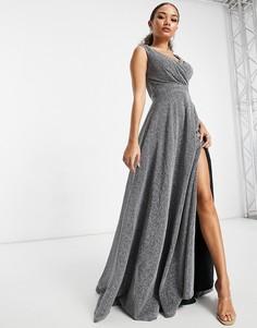 Блестящее серебристое платье макси с разрезом спереди Goddiva-Серебряный