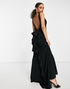Черное платье макси с воротником-хомутом и юбкой годе Goddiva-Черный