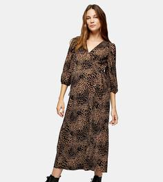 Коричневое платье с запахом-кимоно и звериным принтом Topshop Maternity-Светло-коричневый