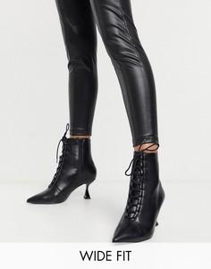 Черные ботинки на шнуровке с заостренным носком ASOS DESIGN Wide Fit Ricky-Черный