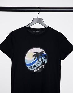 Черная футболка с логотипом Karlifornia - Karl Lagerfeld-Черный