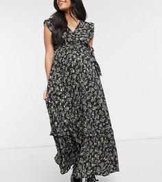 Черное платье макси с оборками на коротких рукавах и золотистым фольгированным принтом Mamalicious Maternity-Многоцветный Mama.Licious