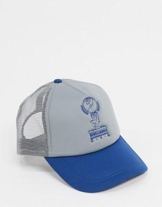 Серо-голубая бейсболка с принтом ASOS DESIGN-Многоцветный
