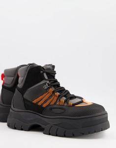Черно-серые ботинки на шнуровке из искусственной кожи с оранжевыми вставками ASOS DESIGN-Черный