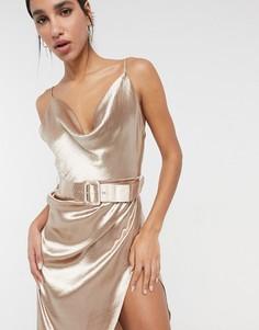 Атласное платье миди на бретельках светло-золотого цвета со свободным воротом и поясом ASOS DESIGN-Золотистый