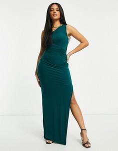 Платье макси на одно плечо изумрудно-зеленого цвета Club L London-Зеленый