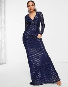 Темно-синее платье макси с пайетками, длинными рукавами и юбкой годе Goddiva-Темно-синий