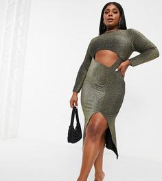 Золотистое платье миди с длинными рукавами, вырезом и блестками Fashionkilla Plus-Золотистый