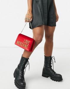 Большая жаккардовая сумка-кошелек черного/золотистого цвета с логотипом Love Moschino-Красный